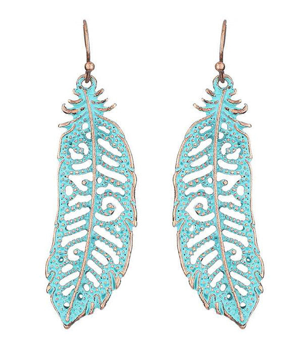 Turquoise Metal Feather Earring