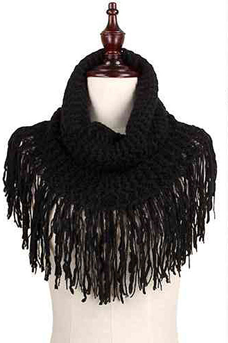 Black Fringe Knit Scarf