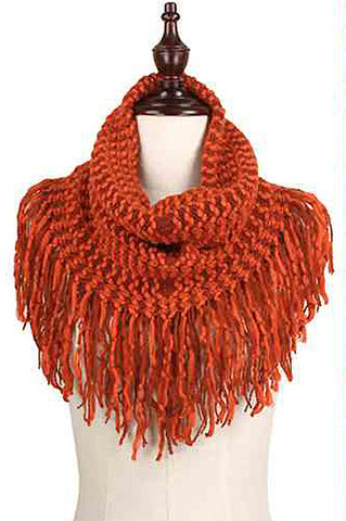 Orange Two-Tone Fringe Knit Scarf