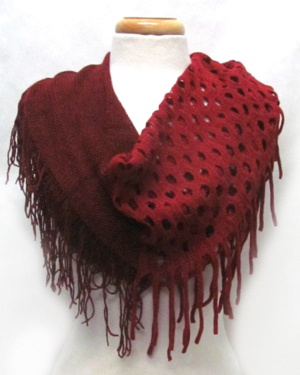 Dark Red Two-Tone Fringe Infinity Scarf