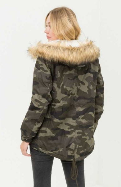 Camouflage Fur Lined Hooded Jacket