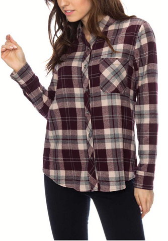 Long Sleeve Plaid Flannel Top