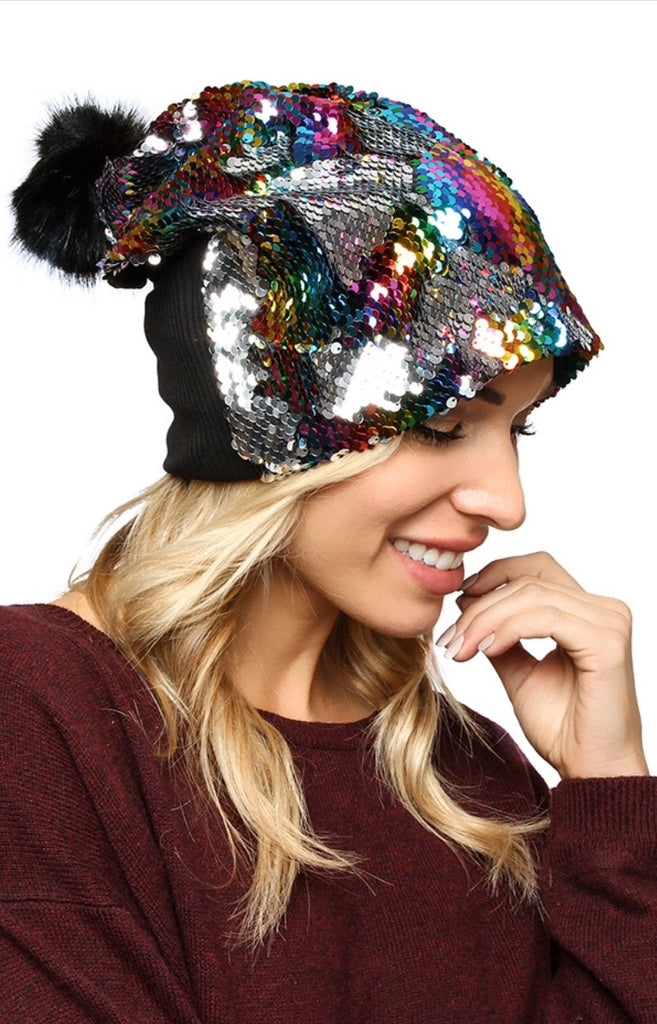 Mermaid Sequin Slouchy Beanie