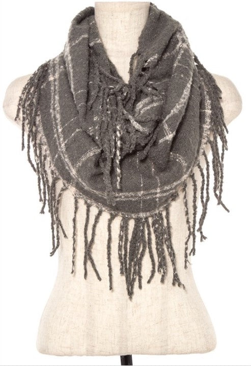 Plaid Fringe Knit Infinity Scarf
