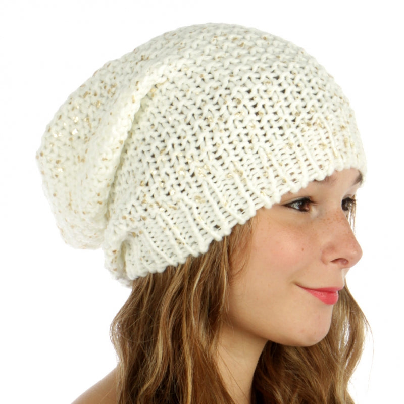 Foiled Knit Slouchy Beanie