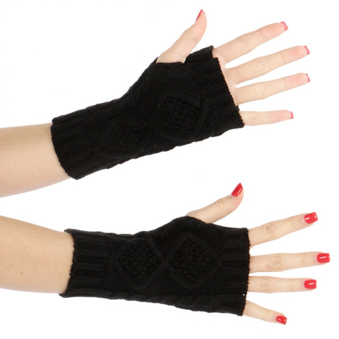 Solid Knit Fingerless Gloves