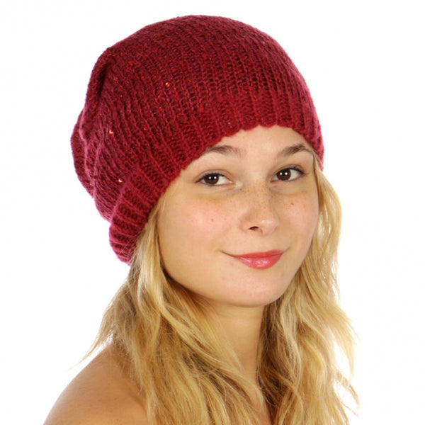 Knit Sequin Slouchy Beanie