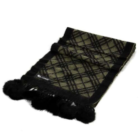 Checker Cashmere Fur Pom Scarf