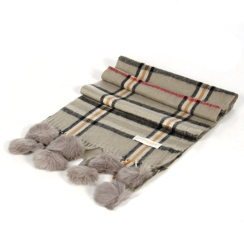 Grey Plaid Cashmere Fur Pom Scarf