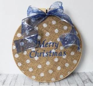 Christmas Burlap Wall Ornament Hanging - Two Color Combinations Available