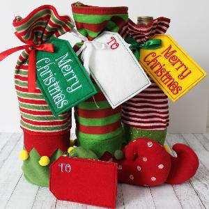 Holiday Elf Stocking Bottle Holder with Custom Tag