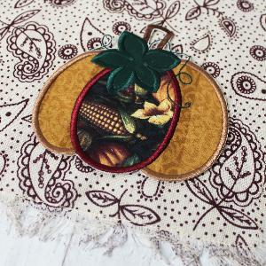 Gold Harvest Pumpkin on Patterned Fringe Placemats - Set of 4