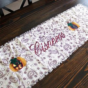Gold Harvest Pumpkin on Patterned Fringe Table Runner - Personalized with Name