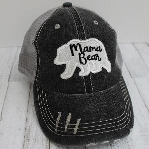 Mama or Grandma Bear Grey Distressed Trucker Hat