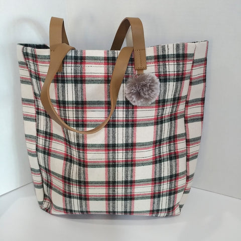 Plaid Tote with Faux Fur PomPom