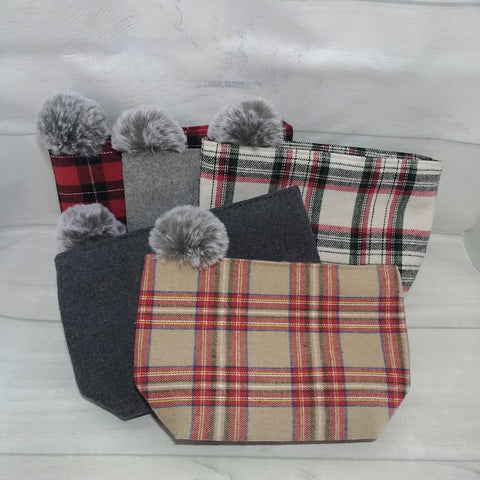 Plaid Pouch with Faux Fur PomPom