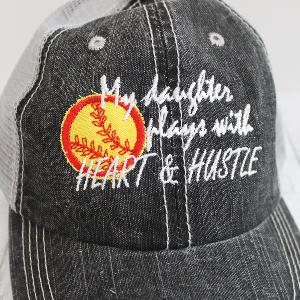 Heart & Hustle Softball Mom Distressed Trucker Hat