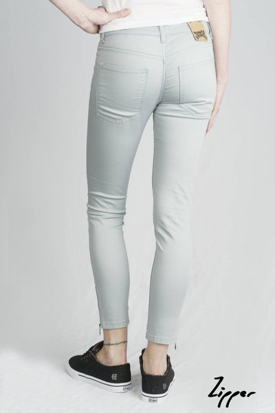 Women's Silk Blue Zipper Organic Sateen Jeans