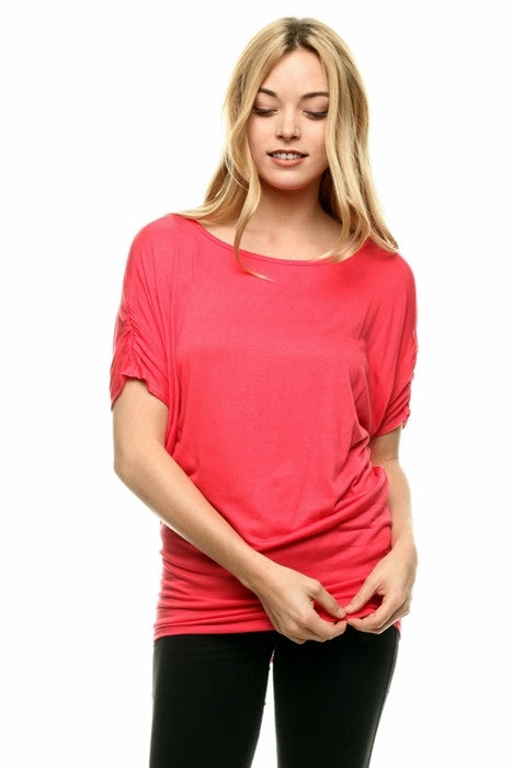 Coral Dolman Tunic Top