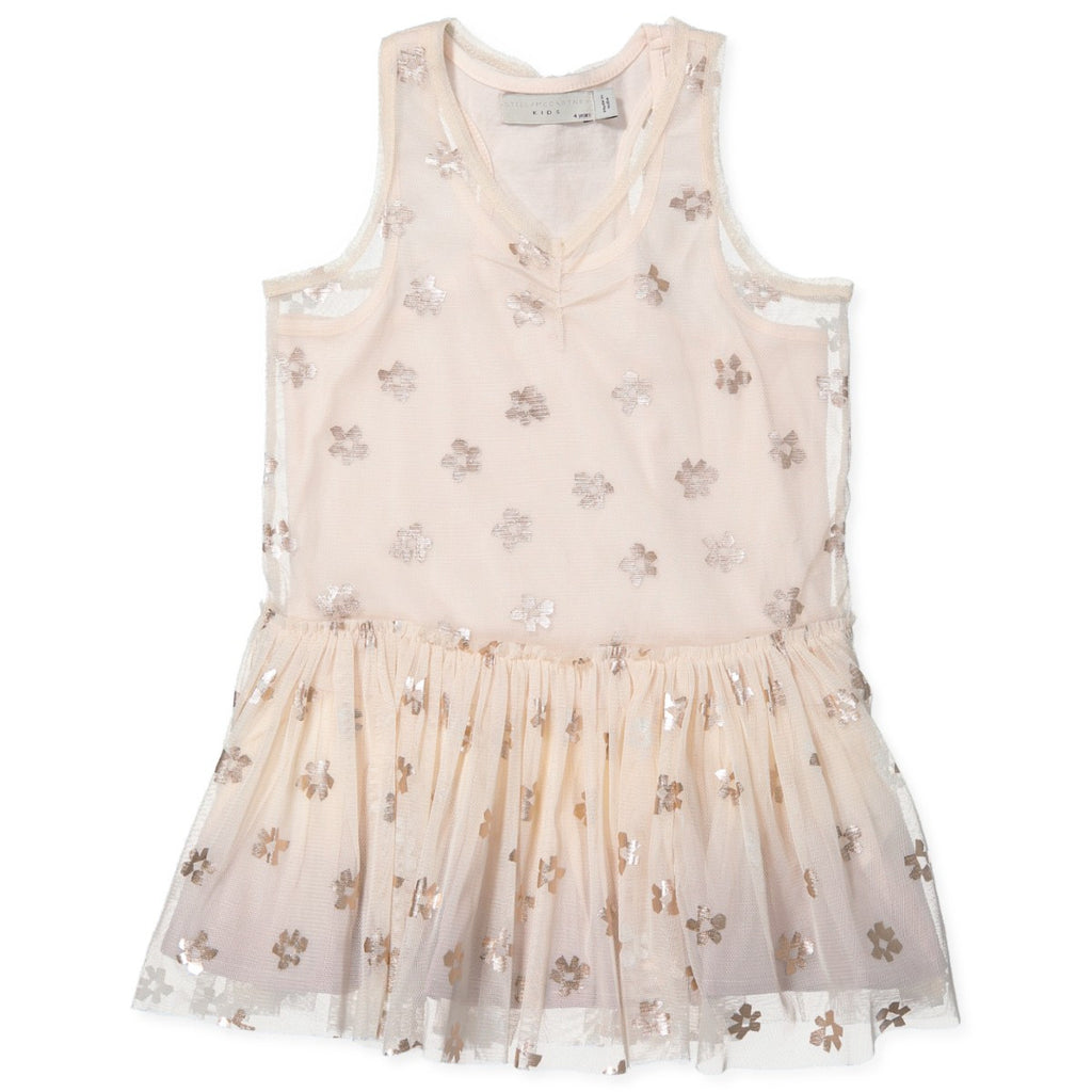 Beige Pink Bell Girls Tulle Dress with Metallic Daisy Print