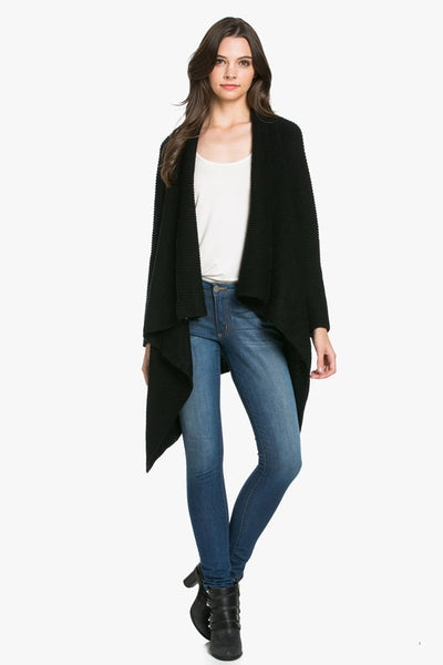 Black Long Sleeve Sweater Cardigan