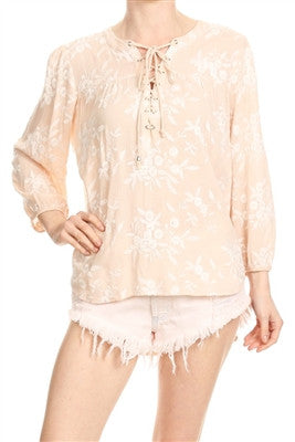 Sandy Pink Stitched Floral Lace Up Peasant Top