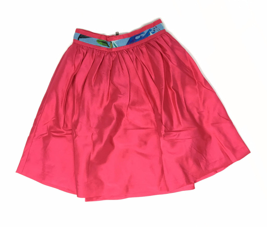 Dragonfruit Pink Calf Length Circle Skirt