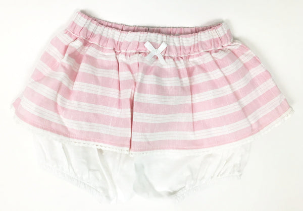 Pink and White Stripe Skirt with Bloomer