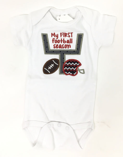 ''My First Football Season''  Short Sleeve Onesie White