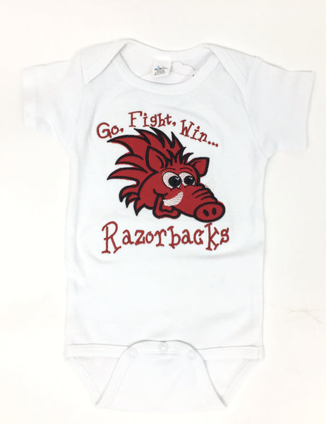 ''Go, Fight, Win''  Short Sleeve Onesie White