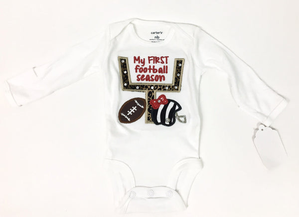 ''My First Football Season'' Girl Long Sleeve Onesie White