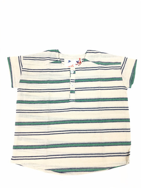 Green/Blue Stripe Henley Western Shirt
