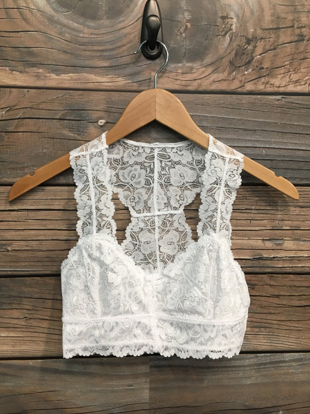 White Lace Racer Back Bra
