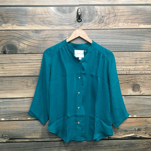 Tashi Silky Teal Button-Up Blouse