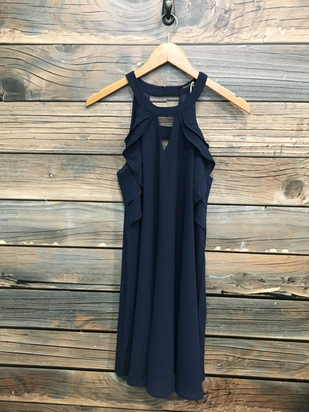 Navy Sleeveless Circle Neck Ruffle Dress with Cutout Details