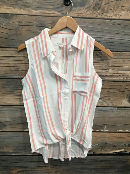 Blushing Pink/White Stripe Tie Front Top
