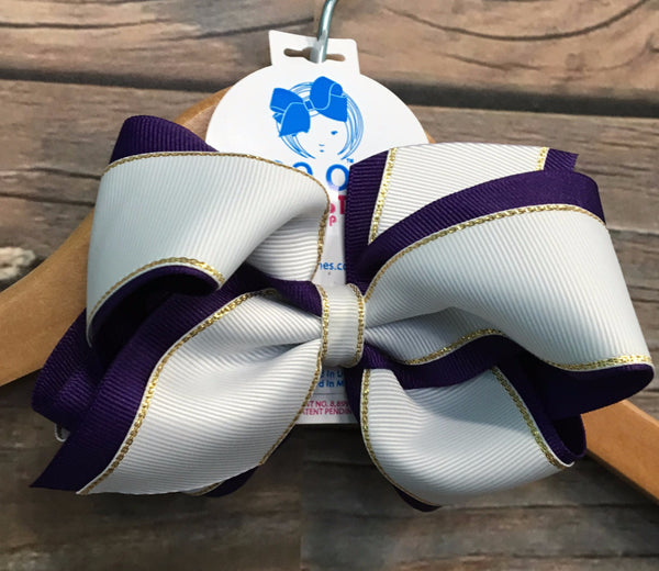Purple and White Grosgrain bow with Gold Edge