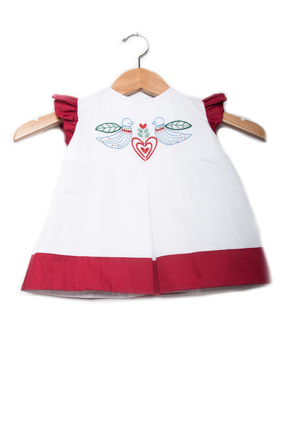 Love Birds White Dress with Red Trim