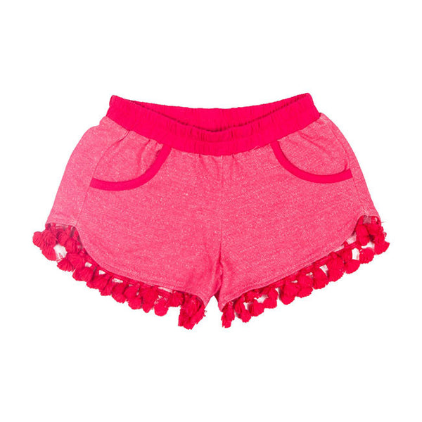 Light Fleece Tassie Shorts in Watermelon Pink