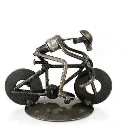 Cyclist- Recycled Metal Sculpture