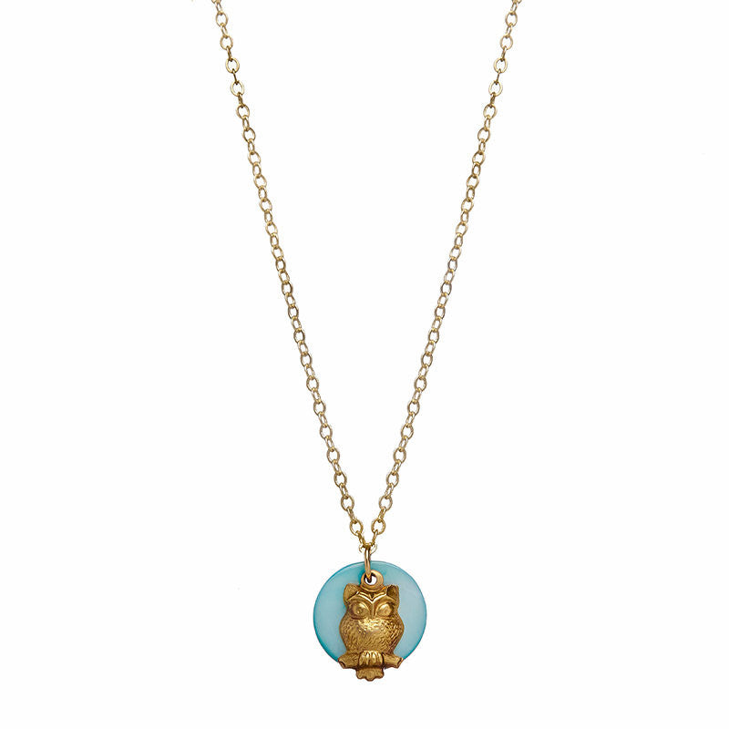 Blue Moon Owl Charm Necklace