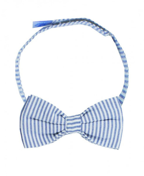 Blue Seersucker Bow Tie
