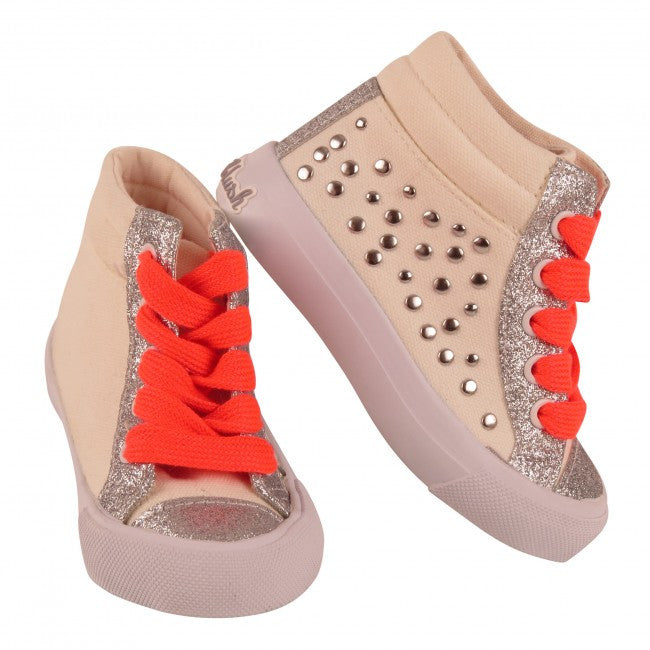 Billie Blush Silver Studded Hightop Sneakers
