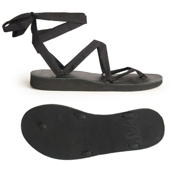 BLACK LEATHER RIBBON SANDALS