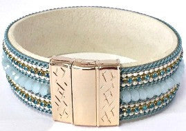 Beaded Magnetic Bracelet- Blue