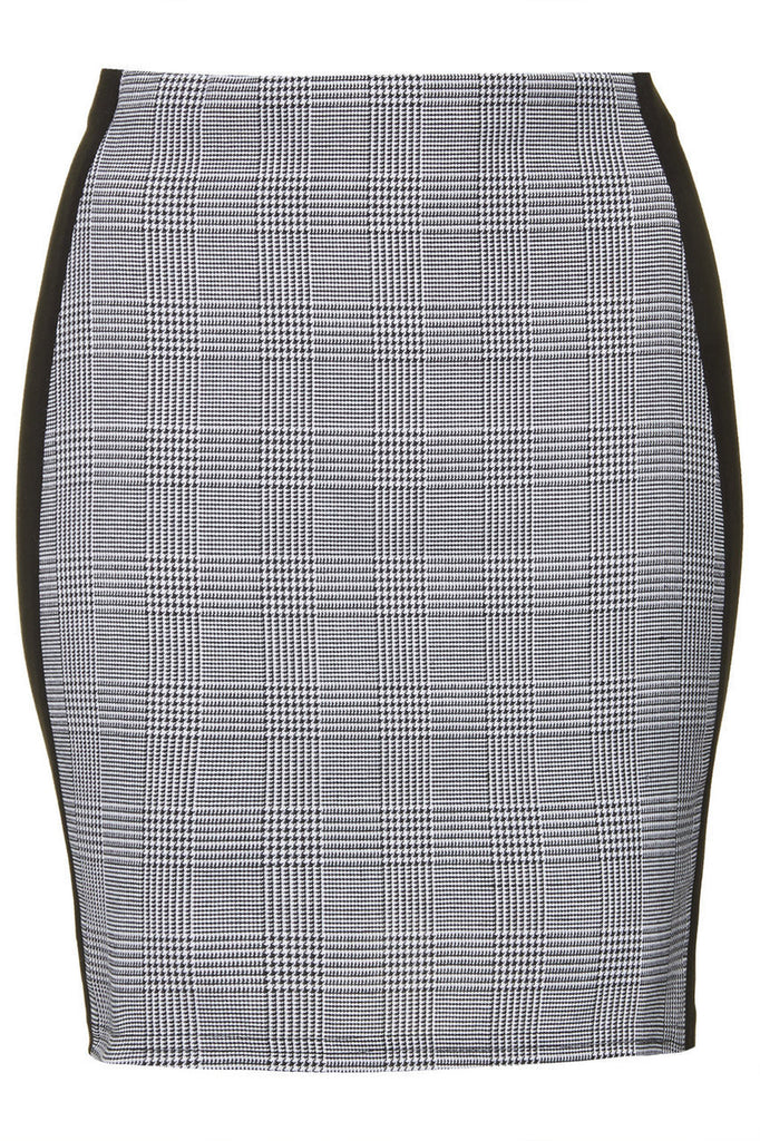 Panelled Bodycon Skirt Grey Check
