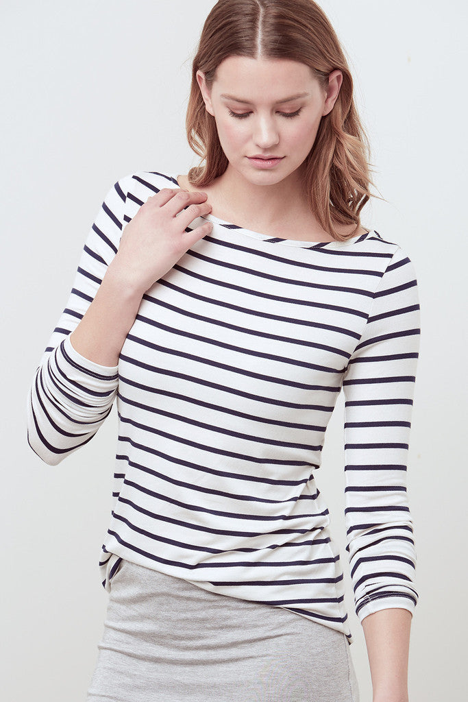 Black and White Striped Francoise Long-Sleeve Tee
