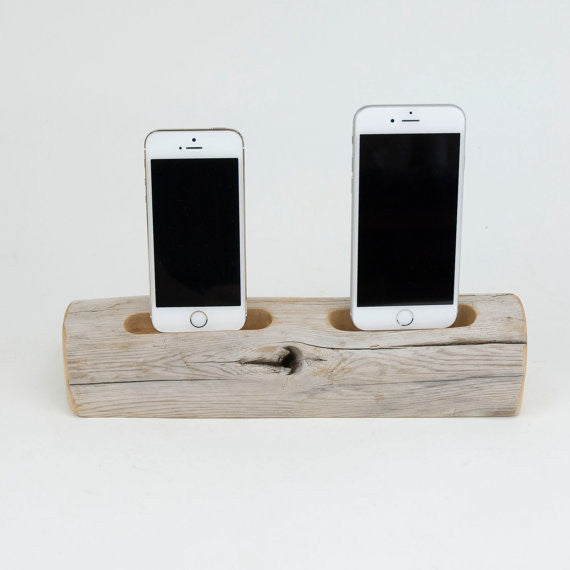 Dual iPhone Driftwood Docking Station