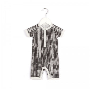 Grey/Black Party Short Sleeve Onesie