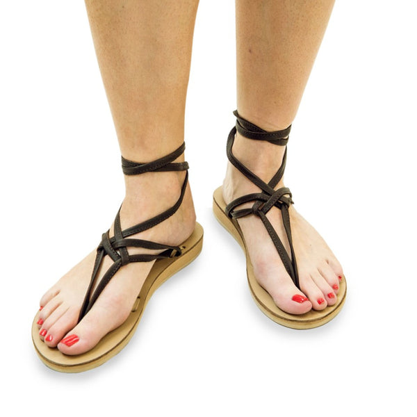 BEIGE LEATHER RIBBON SANDALS